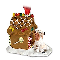 English Setter Belton Orange Ginger Bread House Ornament