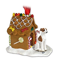 Whippet Brindle & White Ginger Bread House Ornament