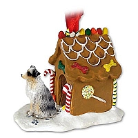 Australian Shepherd Blue w/Docked Tail Ginger Bread House Ornament
