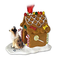 Australian Shepherd Brown w/Docked Tail Ginger Bread House Ornament