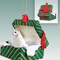 White Oriental Shorthaired Gift Box Green Ornament