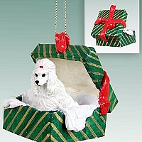 Poodle White Gift Box Green Ornament