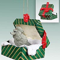 Poodle Gray Gift Box Green Ornament