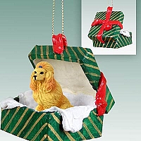 Poodle Apricot Gift Box Green Ornament