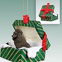 Poodle Chocolate Gift Box Green Ornament