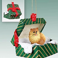 Pomeranian Red Gift Box Green Ornament