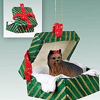 Yorkshire Terrier Gift Box Green Ornament