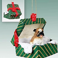 Bulldog Gift Box Green Ornament