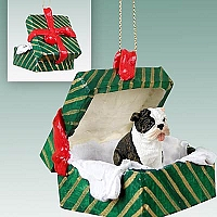 Bulldog Brindle Gift Box Green Ornament