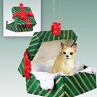Chihuahua Tan & White Gift Box Green Ornament
