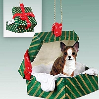 Chihuahua Brindle & White Gift Box Green Ornament