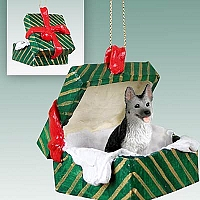German Shepherd Black & Silver Gift Box Green Ornament