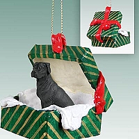 Great Dane Black w/Uncropped Ears Gift Box Green Ornament