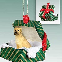 Great Dane Fawn w/Uncropped Ears Gift Box Green Ornament