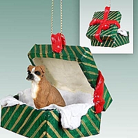 Boxer w/Uncropped Ears Gift Box Green Ornament