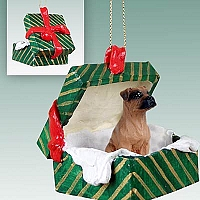 Boxer Tawny w/Uncropped Ears Gift Box Green Ornament