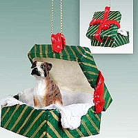 Boxer Brindle w/Uncropped Ears Gift Box Green Ornament
