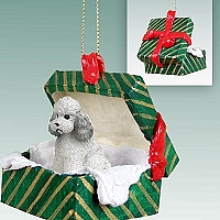 Poodle Gray w/Sport Cut Gift Box Green Ornament