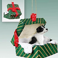 Jack Russell Terrier Black & White w/Smooth Coat Gift Box Green Ornament