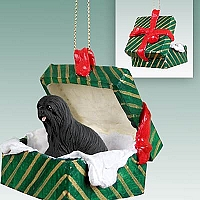 Lhasa Apso Black Gift Box Green Ornament