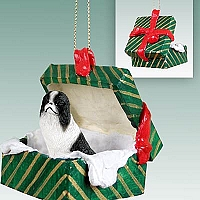 Japanese Chin Black & White Gift Box Green Ornament