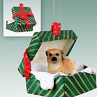 Tibetan Spaniel Gift Box Green Ornament
