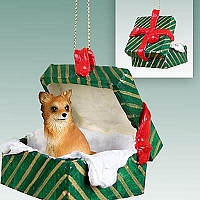 Chihuahua Longhaired Gift Box Green Ornament