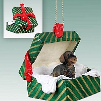 Wire Haired Dachshund Red Gift Box Green Ornament