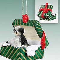 Shih Tzu Black & White w/Sport Cut Gift Box Green Ornament