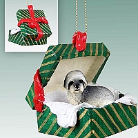 Lhasa Apso Gray w/Sport Cut Gift Box Green Ornament