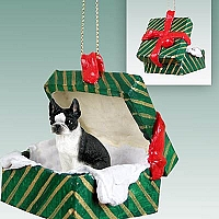 Boston Terrier Gift Box Green Ornament