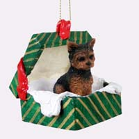 Yorkshire Terrier Puppy Cut Gift Box Green Ornament