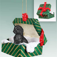 Labradoodle Black Gift Box Green Ornament