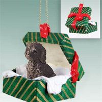 Labradoodle Chocolate Gift Box Green Ornament