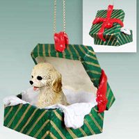 Cockapoo Blond Gift Box Green Ornament