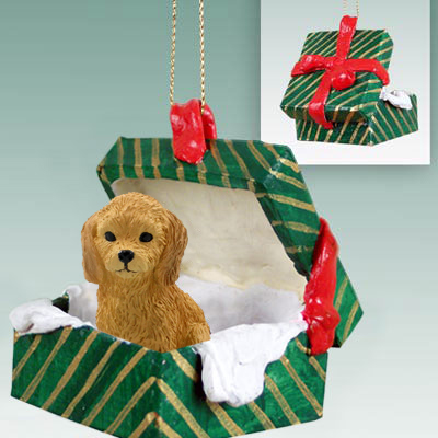 goldendoodle gift box green ornament