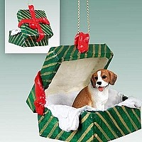 Beagle Gift Box Green Ornament