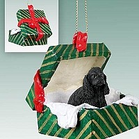 Cocker Spaniel Black Gift Box Green Ornament