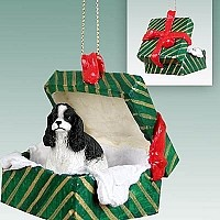 Cocker Spaniel Black & White Gift Box Green Ornament