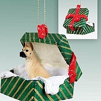 Great Dane Fawn Gift Box Green Ornament