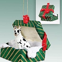 Great Dane Harlequin Gift Box Green Ornament