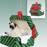 Pug Fawn Gift Box Green Ornament