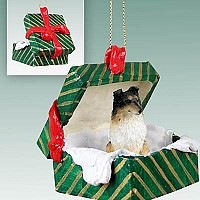 Sheltie Tricolor Gift Box Green Ornament
