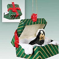 Shih Tzu Black & White Gift Box Green Ornament