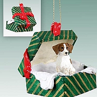 Brittany Brown & White Spaniel Gift Box Green Ornament