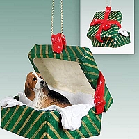 Basset Hound Gift Box Green Ornament
