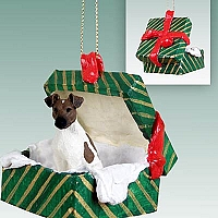 Fox Terrier Brown & White Gift Box Green Ornament