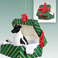 Fox Terrier Black & White Gift Box Green Ornament
