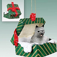 Cairn Terrier Gray Gift Box Green Ornament
