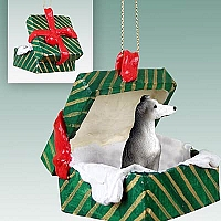Greyhound Blue Gift Box Green Ornament